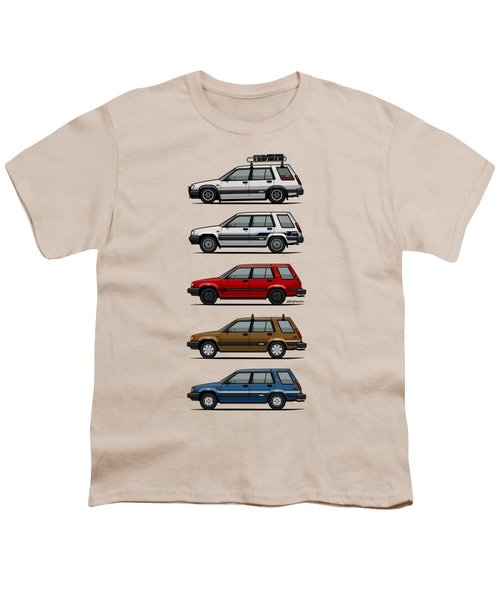 Stack Of Toyota Tercel Sr5 4wd Al25 Wagons Youth T-Shirt by Monkey Crisis On Mars