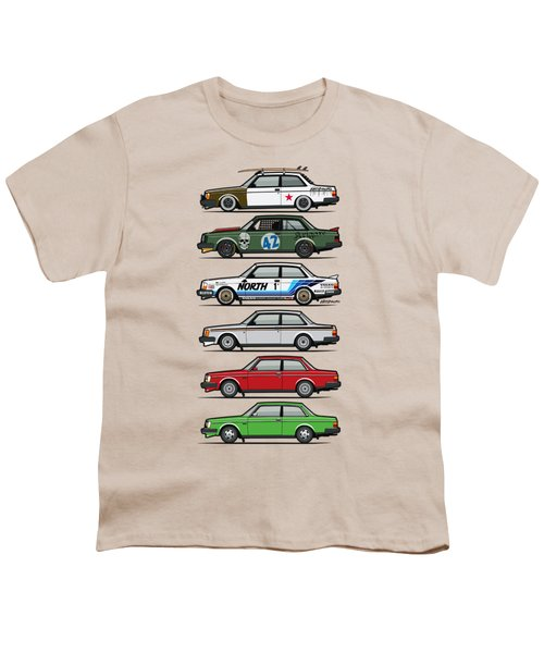 Stack Of Volvo 242 240 Series Brick Coupes Youth T-Shirt by Monkey Crisis On Mars