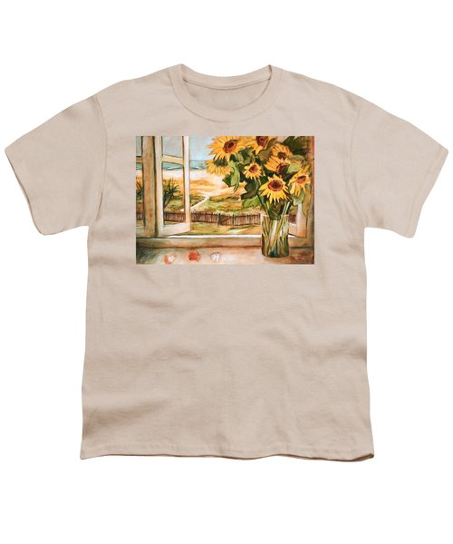 Youth T-Shirt featuring the painting The Beach Sunflowers by Winsome Gunning