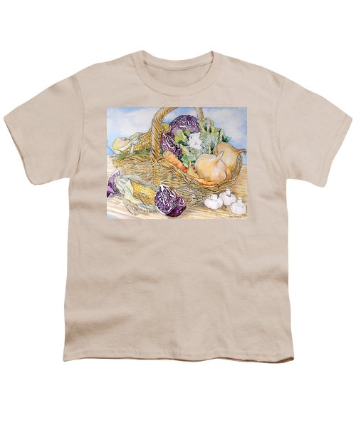 Vegetables In A Basket Youth T-Shirt by Joan Thewsey