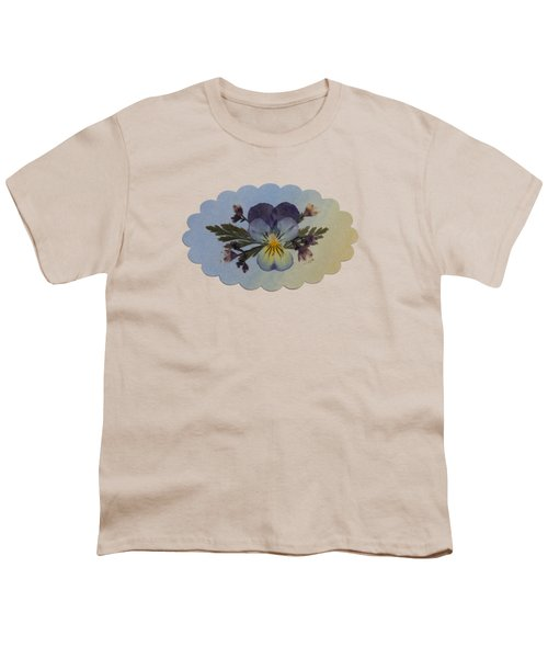 Viola Pressed Flower Arrangement Youth T-Shirt