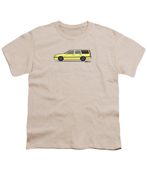 Volvo 850r 855r T5-r Swedish Turbo Wagon Cream Yellow Youth T-Shirt by Monkey Crisis On Mars
