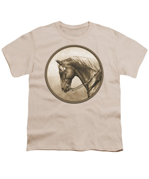 Western Pleasure Horse Phone Case In Sepia Youth T-Shirt