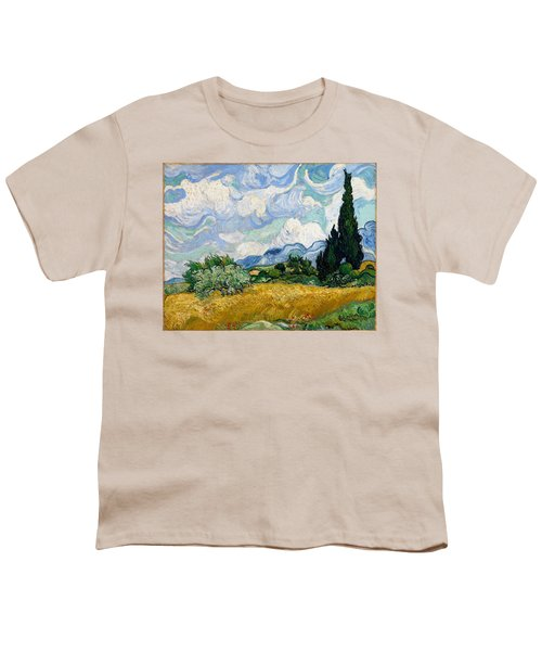 Youth T-Shirt featuring the painting Wheatfield With Cypresses by Van Gogh