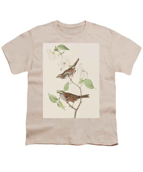 White Throated Sparrow Youth T-Shirt by John James Audubon