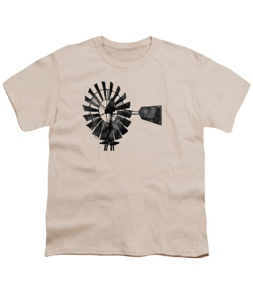 Windmill In Black And White Youth T-Shirt by Hailey E Herrera