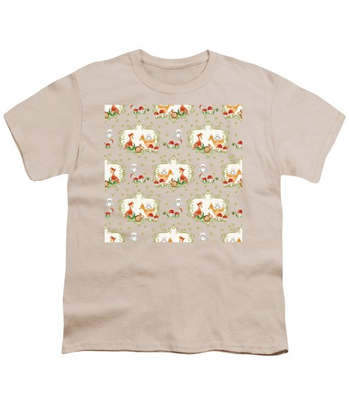 Woodland Fairy Tale -  Warm Grey Sweet Animals Fox Deer Rabbit Owl - Half Drop Repeat Youth T-Shirt