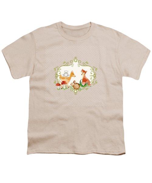 Woodland Fairytale - Animals Deer Owl Fox Bunny N Mushrooms Youth T-Shirt