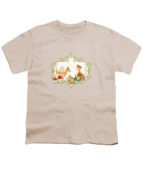 Woodland Fairytale - Grey Animals Deer Owl Fox Bunny N Mushrooms Youth T-Shirt