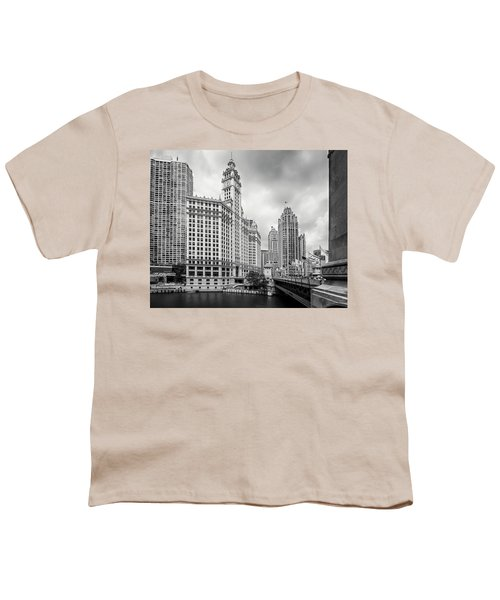 Youth T-Shirt featuring the photograph Wrigley Building Chicago by Adam Romanowicz