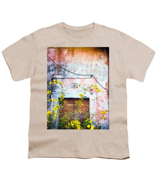 Youth T-Shirt featuring the photograph Yellow Flowers And Decayed Wall by Silvia Ganora