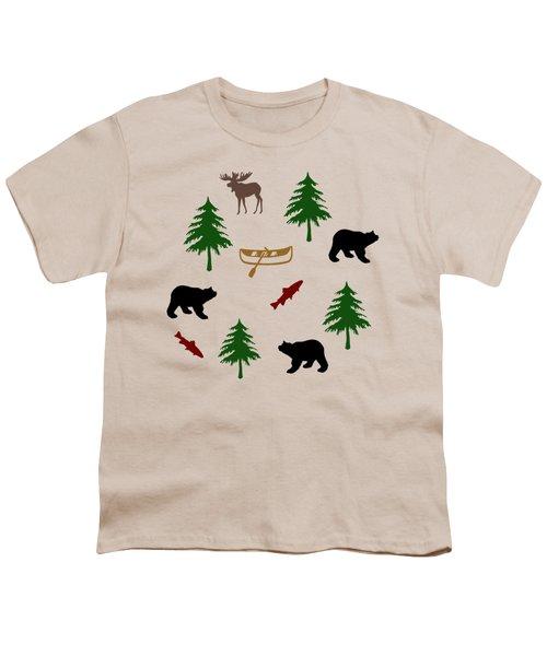 Bear Moose Pattern Youth T-Shirt