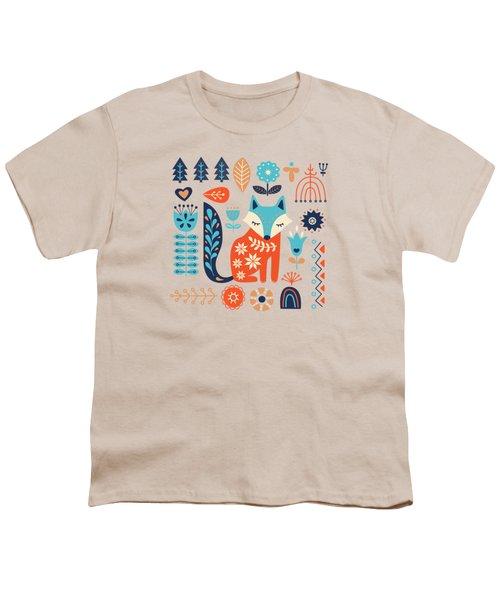 Soft And Sweet Scandinavian Fox Folk Art Youth T-Shirt