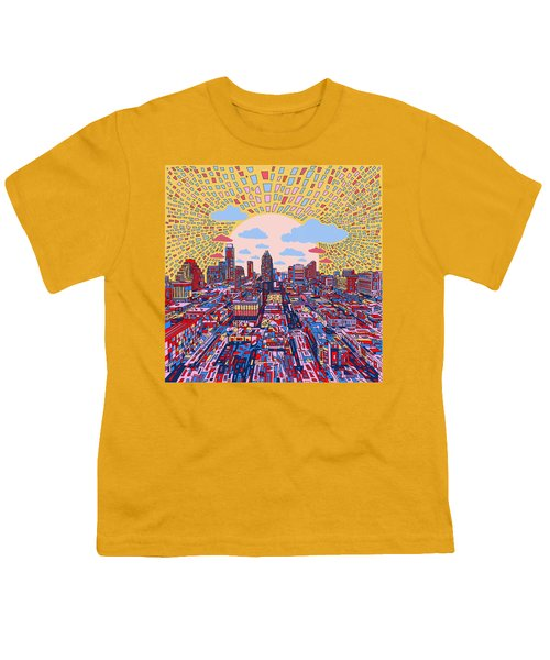 Austin Texas Abstract Panorama 2 Youth T-Shirt by Bekim Art