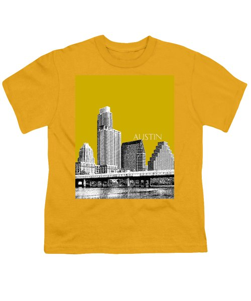 Austin Texas Skyline - Gold Youth T-Shirt