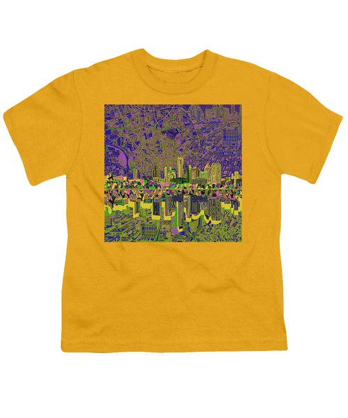 Austin Texas Skyline Youth T-Shirt by Bekim Art