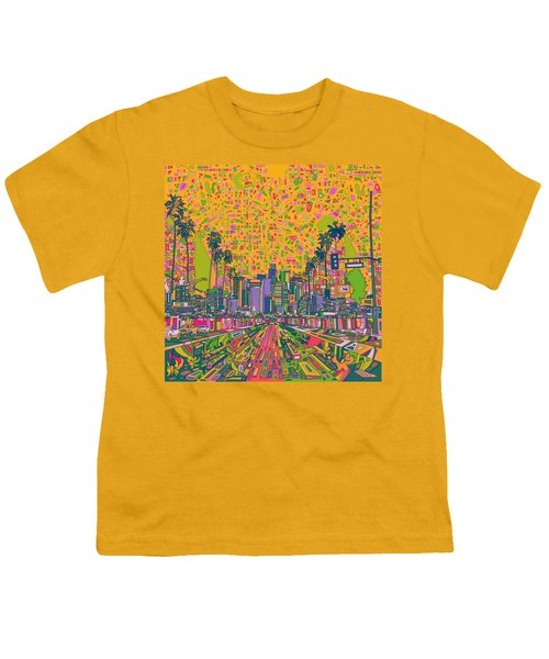 Los Angeles Skyline Abstract Youth T-Shirt by Bekim Art
