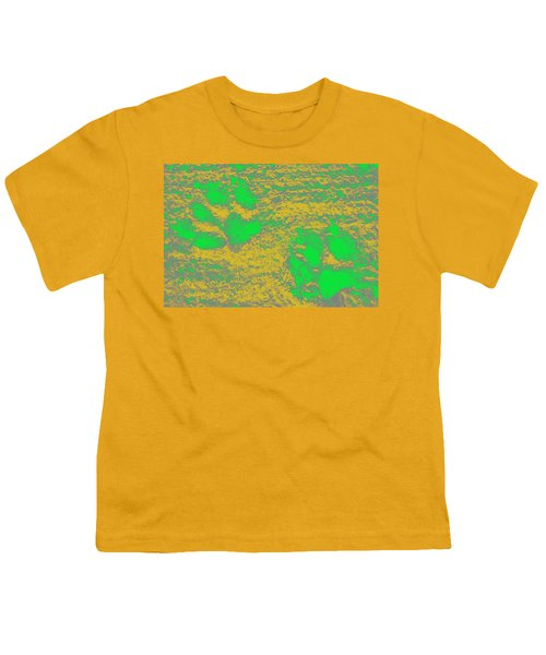 Paw Prints In Yellow And Lime Youth T-Shirt