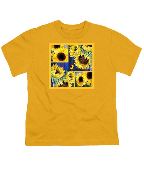 Youth T-Shirt featuring the painting Sunflowers Sunny Collage by Irina Sztukowski