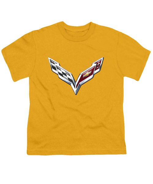 Chevrolet Corvette 3d Badge On Yellow Youth T-Shirt by Serge Averbukh