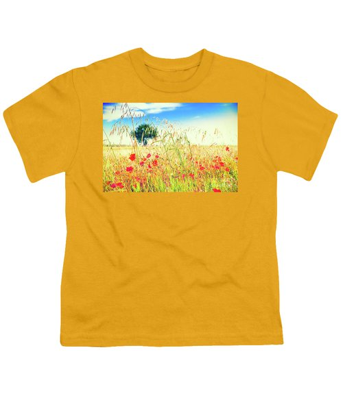 Youth T-Shirt featuring the photograph Poppies With Tree In The Distance by Silvia Ganora
