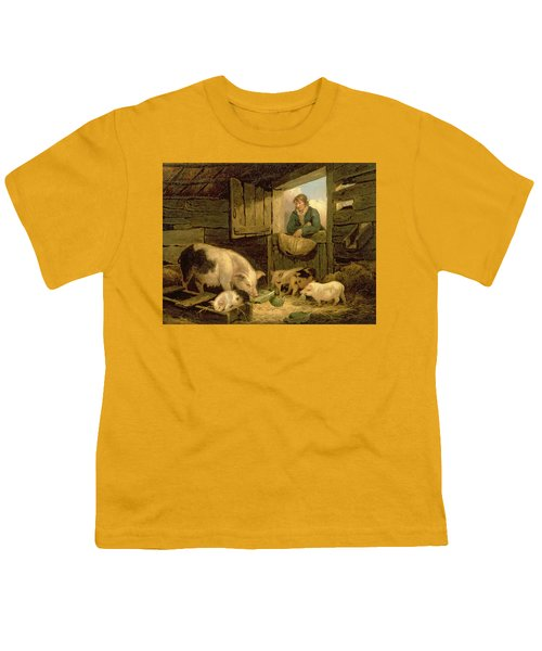 A Boy Looking Into A Pig Sty Youth T-Shirt