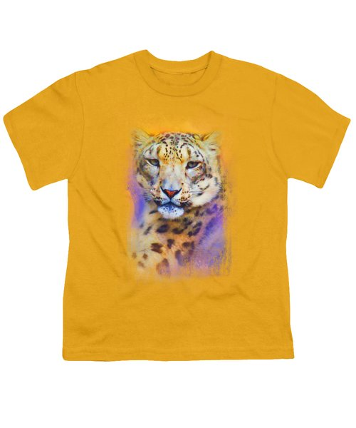 Colorful Expressions Snow Leopard Youth T-Shirt by Jai Johnson