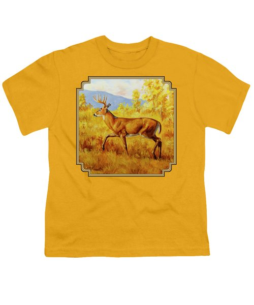 Whitetail Deer In Aspen Woods Youth T-Shirt by Crista Forest