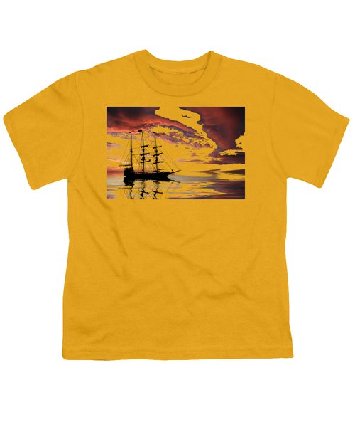 Pirate Ship At Sunset Youth T-Shirt by Shane Bechler