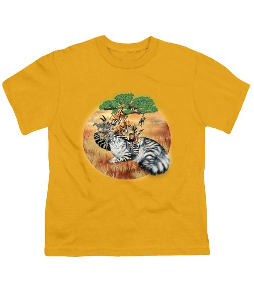 Cat In The Safari Hat Youth T-Shirt by Carol Cavalaris