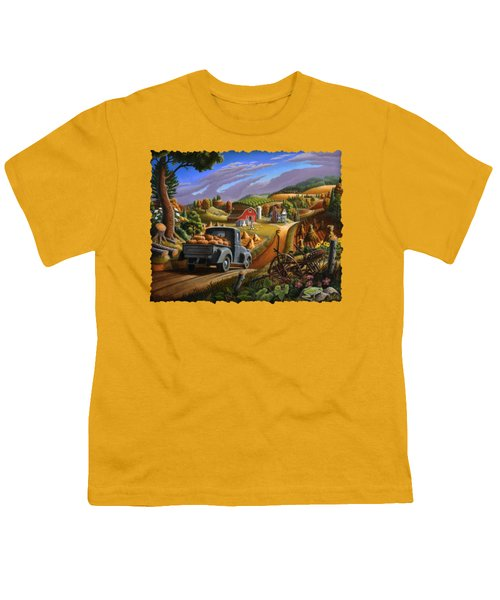 Autumn Appalachia Thanksgiving Pumpkins Rural Country Farm Landscape - Folk Art - Fall Rustic Youth T-Shirt