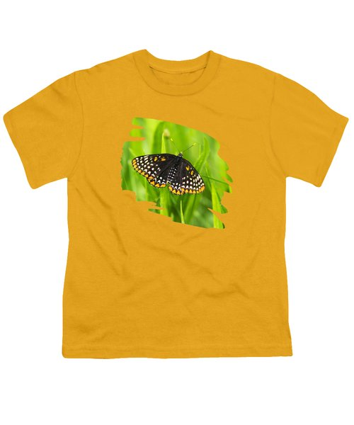 Baltimore Checkerspot Butterfly Youth T-Shirt by Christina Rollo