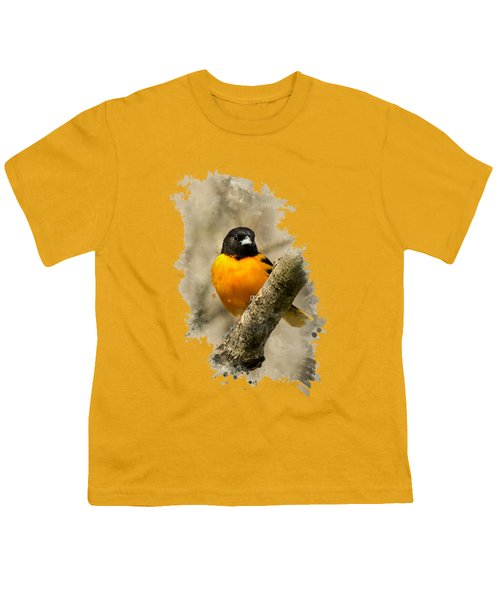 Baltimore Oriole Watercolor Art Youth T-Shirt by Christina Rollo