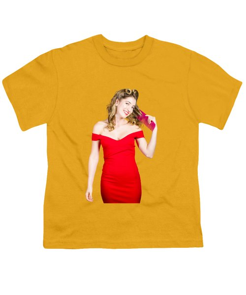 Youth T-Shirt featuring the photograph Beautiful Woman With Long Curly Hair And Brush by Jorgo Photography - Wall Art Gallery