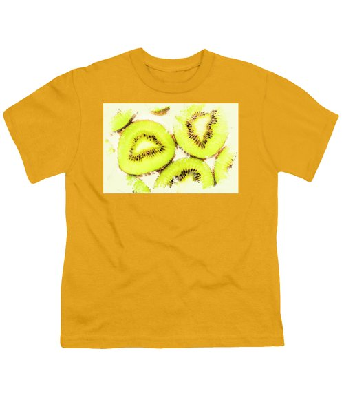 Close Up Of Kiwi Slices Youth T-Shirt by Jorgo Photography - Wall Art Gallery