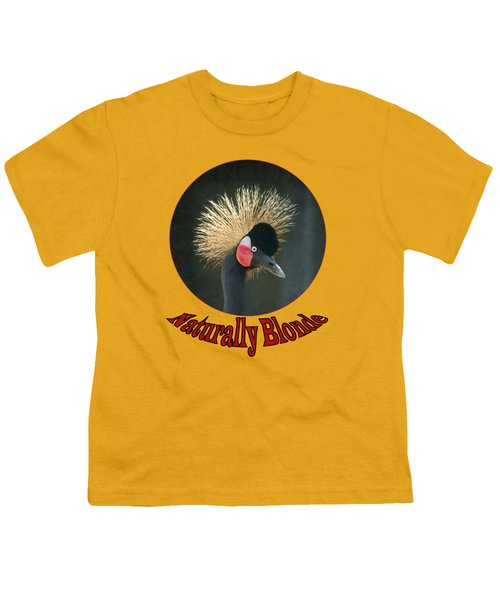 Crowned Crane - Naturally Blonde - Transparent Youth T-Shirt by Nikolyn McDonald