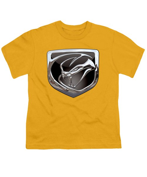 Dodge Viper 3 D  Badge Special Edition On Yellow Youth T-Shirt by Serge Averbukh