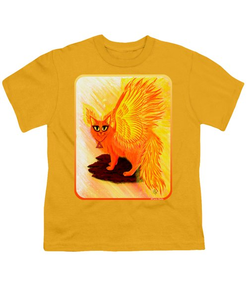 Elemental Fire Fairy Cat Youth T-Shirt by Carrie Hawks