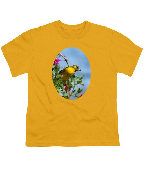 Female Baltimore Oriole In A Flower Basket Youth T-Shirt by Christina Rollo