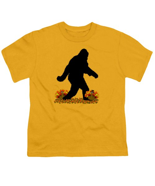 Gone Thanksgiving Squatchin' Youth T-Shirt by Gravityx9   Designs