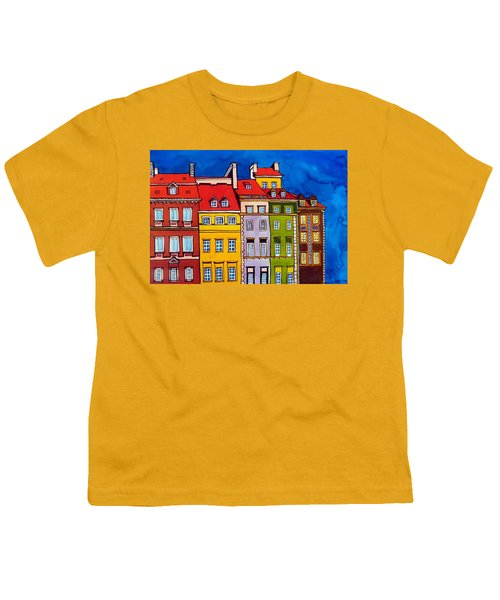 Youth T-Shirt featuring the painting Houses In The Oldtown Of Warsaw by Dora Hathazi Mendes