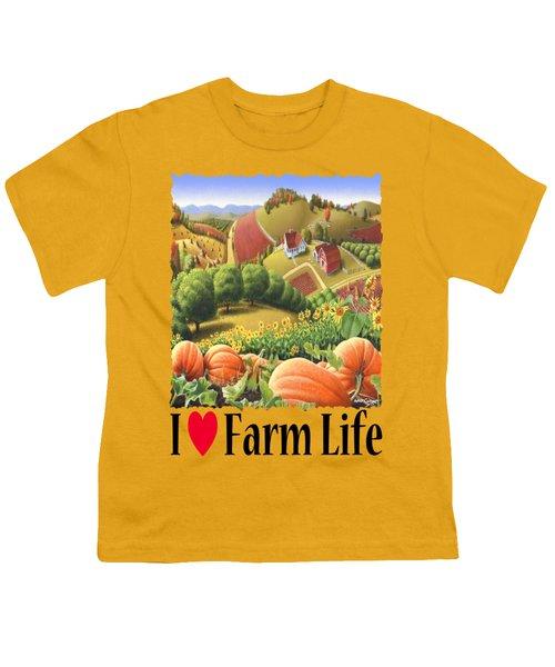 I Love Farm Life - Appalachian Pumpkin Patch - Rural Farm Landscape Youth T-Shirt