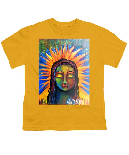 Youth T-Shirt featuring the mixed media Illuminated By Her Own Radiant Self by Prerna Poojara