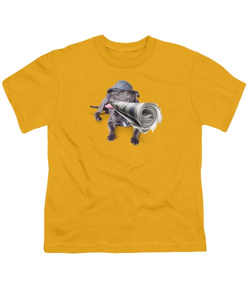 Isolated Newspaper Dog Carrying Latest News Youth T-Shirt by Jorgo Photography - Wall Art Gallery