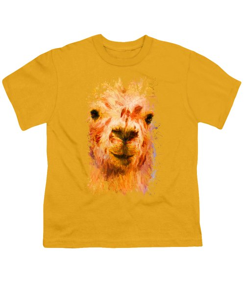 Jazzy Llama Colorful Animal Art By Jai Johnson Youth T-Shirt by Jai Johnson