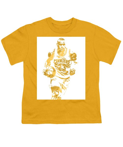 Lebron James Cleveland Cavaliers Pixel Art 7 Youth T-Shirt by Joe Hamilton