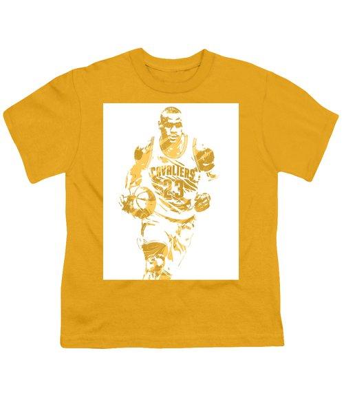 Lebron James Cleveland Cavaliers Pixel Art 7 Youth T-Shirt by Joe Hamilton