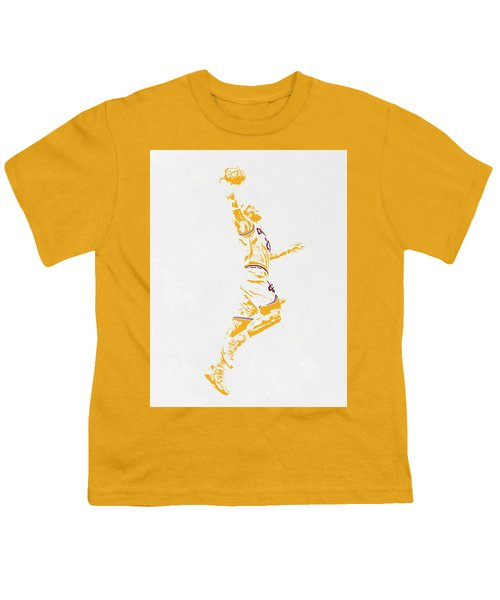 Lebron James Cleveland Cavaliers Pixel Art Youth T-Shirt by Joe Hamilton