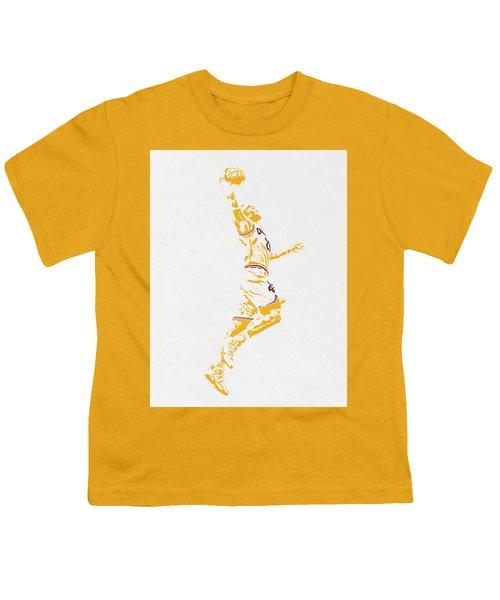 Lebron James Cleveland Cavaliers Pixel Art Youth T-Shirt by Joe Hamilton