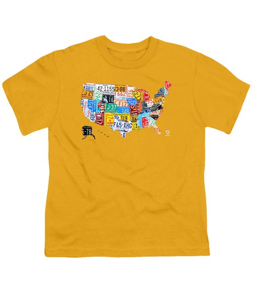 License Plate Art Map Of The United States On Yellow Board Youth T-Shirt